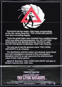 The Living Daylights workprint Warning