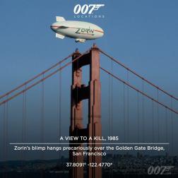 Le dirigeable de Zorin est accroché de façon précaire sur le Golden Gate Bridge de San Francisco. La ville a servi pour de nombreuses scènes de Dangereusement Vôtre, notamment pour la scène finale sur la pile est du GoldenGate Bridge. La coopération des représentants officiels de la ville était sans précédente à l'époque.