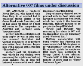 Extrait d'un article intitulé « Les films alternatif de Bond en discussion » du Reading Eagle (Pennsylvanie), 2 juin 1999.