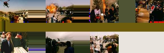Photos du tournage (de gauche à droite) : 1. Hélicoptère au dessus de l'institut géothermique, 2. la hutte des gardes explose, 3. Gunther kidnappe le Dr Reeves, 4. les couloirs de l'institut, 5. le président de Landmark (Gary Goddard) avec le réalisateur (Keith Melton), 6. l'hélicoptère se pose sur le plateau, 7. l'équipe se prépare à tourner.
