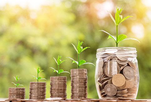 Quatre piles de monnaie de plus en plus grande avec une jeune pousse de verdure qui illustre la capacité à économiser et à l'importance de maîtriser ses coûts de formation pour réussir son projet professionnel de devenir hypnothérapeute.