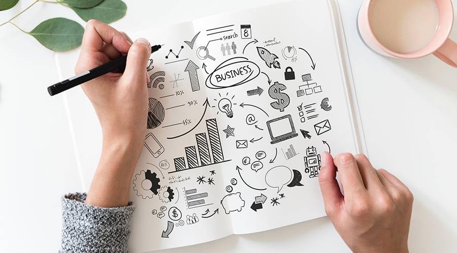 Comment devenir hypnothérapeute ? Photographie d'un carnet ouvert dans lequel une jeune femme a écrit son plan pour créer et dynamiser son entreprise et son activité professionnelle. Elle souhaite ajouter l'hypnothérapie à ses compétences.