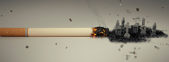 Fumer tue : montage d'une cigarette en train de se consumer et dont la cendre se transforme en tombes. Cette image permet d'illustrer un article sur comment arrêter de fumer avec l'hypnose, efficacement et sans dépenser trop d'argent.