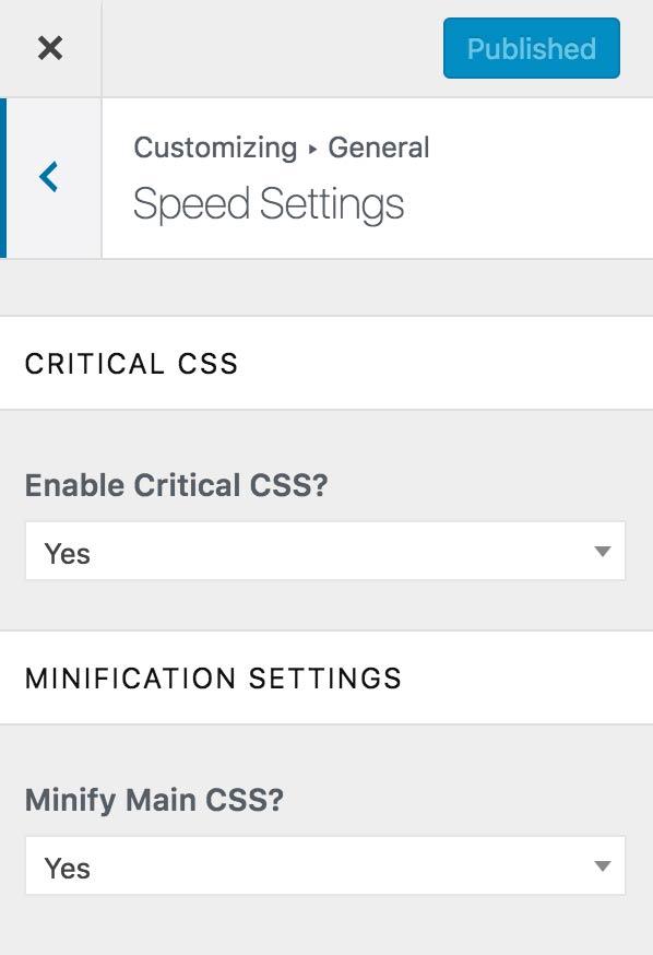 Configuración de velocidad en el personalizador
