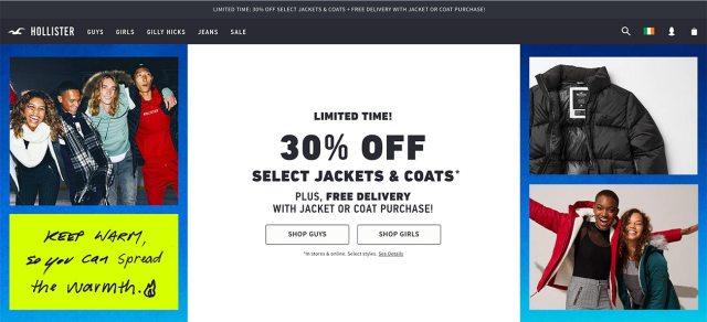 Hollister website screenshot