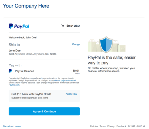 Paypal Payment Screen