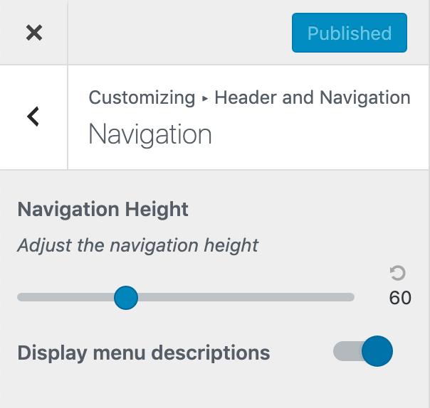 Menu descriptions theme option