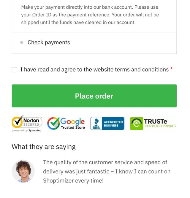Conversion rate tips - #4: Trust seals on the Shoptimizer checkout screen