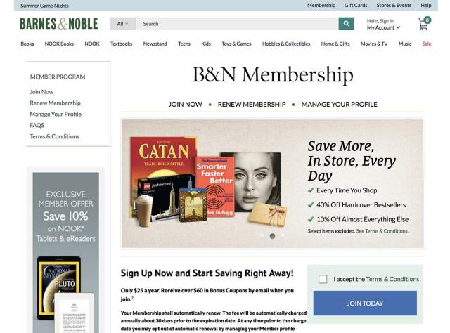 Barnes and Noble's Membership section