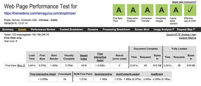 Shoptimizer loading times via WebPageTest