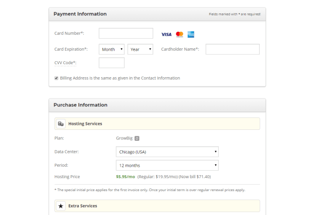SiteGround payment