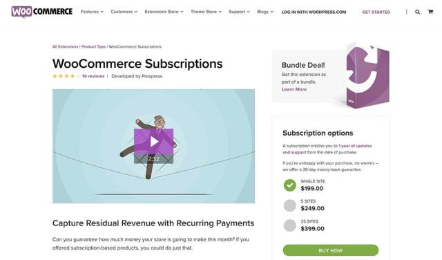 The WooCommerce Subscriptions plugin