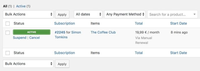 WooCommerce subscriptions information for store owners