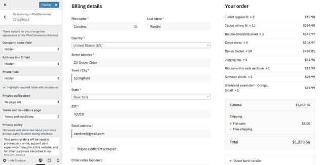 WooCommerce has checkout field options within the customizer
