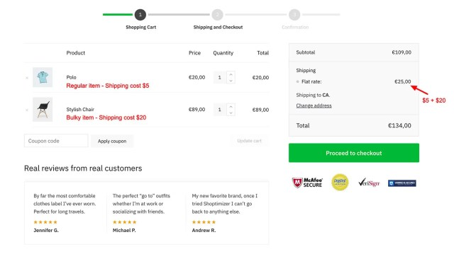 Shipping costs in our cart