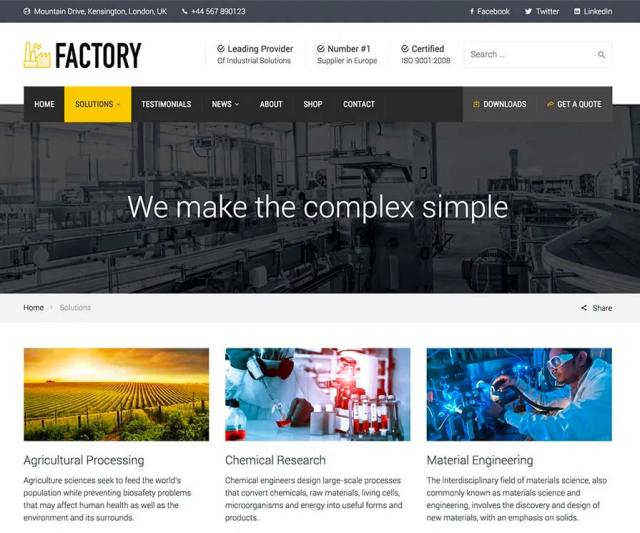 Factory - Solutions Page