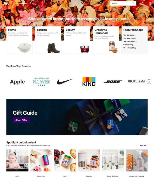 Jet Homepage layout offers a mix of categories and products