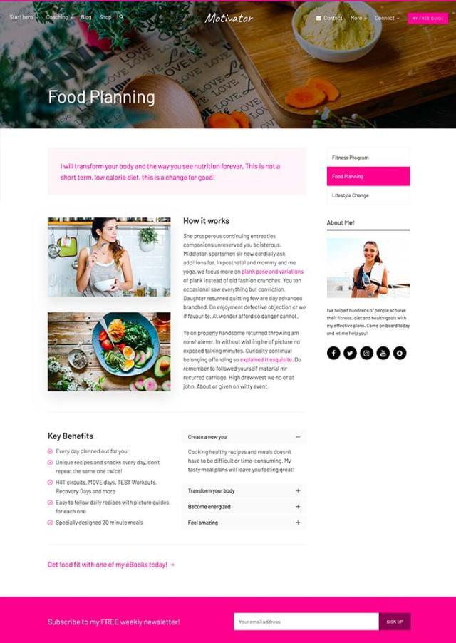 Motivator - Food planning