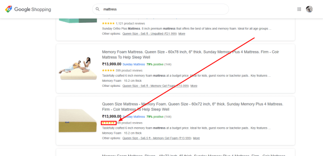 Google Shopping- product review ratings