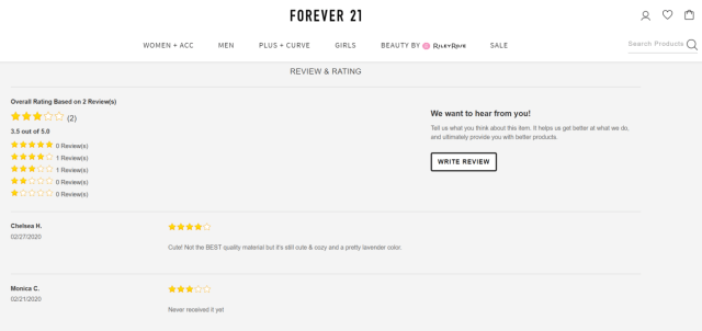 Forever21 customer review