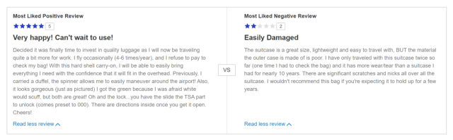 The Most Liked Positive and Negative Review on Samsonite