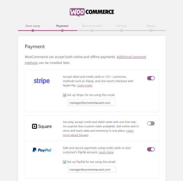 WooCommerce online payment options
