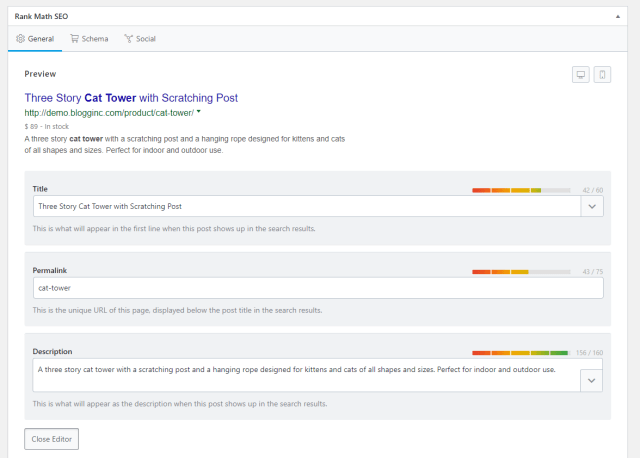 Rank Math product titles