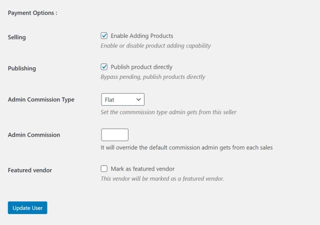 WordPress user settings