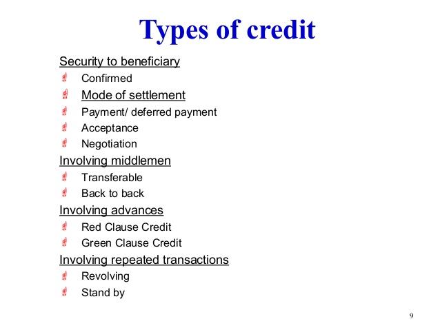 Define Credit Instruments & its kinds