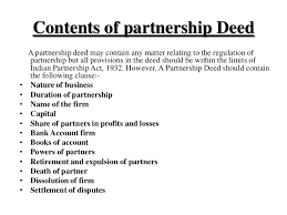 Partnership Deed and discuss its Contents