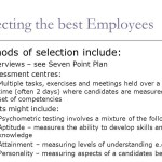 Selection and Training of Employees