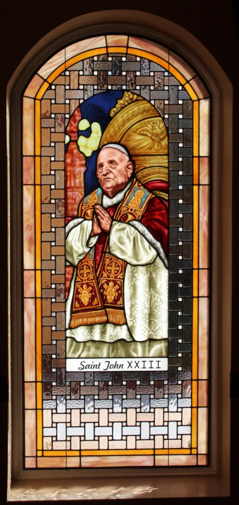 Church Stained Glass Large preying Pope