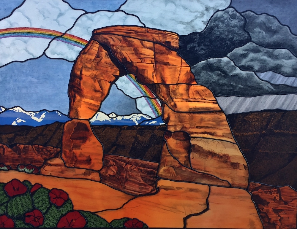 Floral Stained Glass mountian