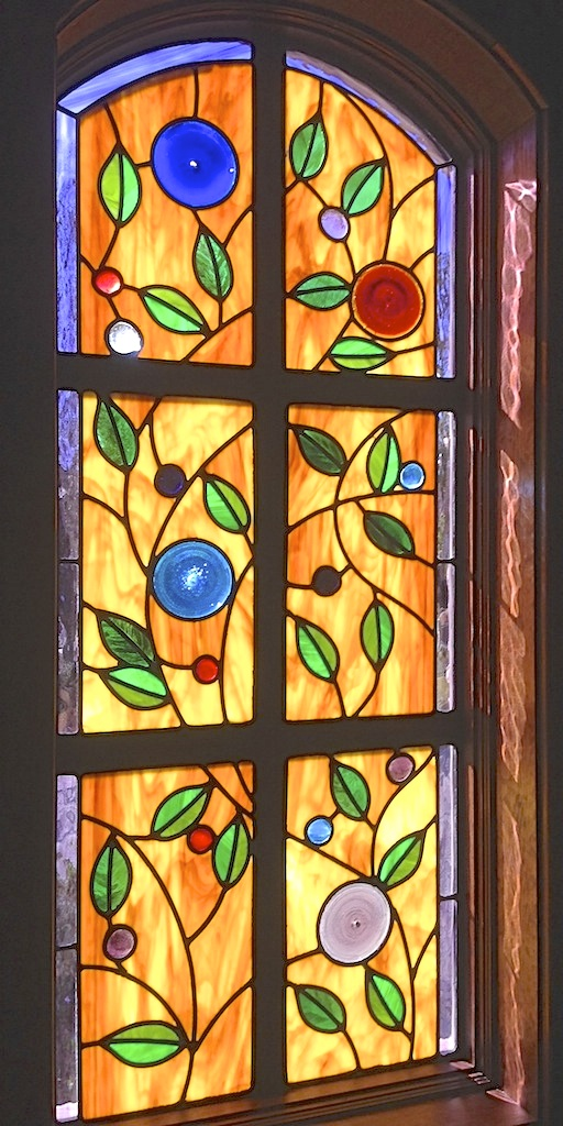 Floral Stained Glass transom
