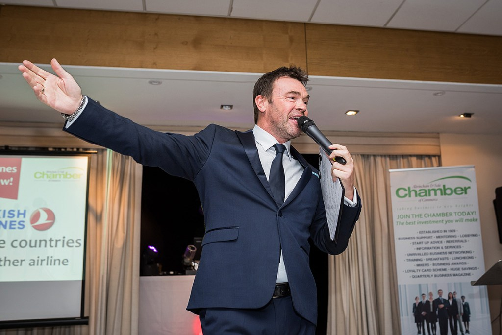 host dj darren proctor at the 2018 altrincham and sale business awards dinner