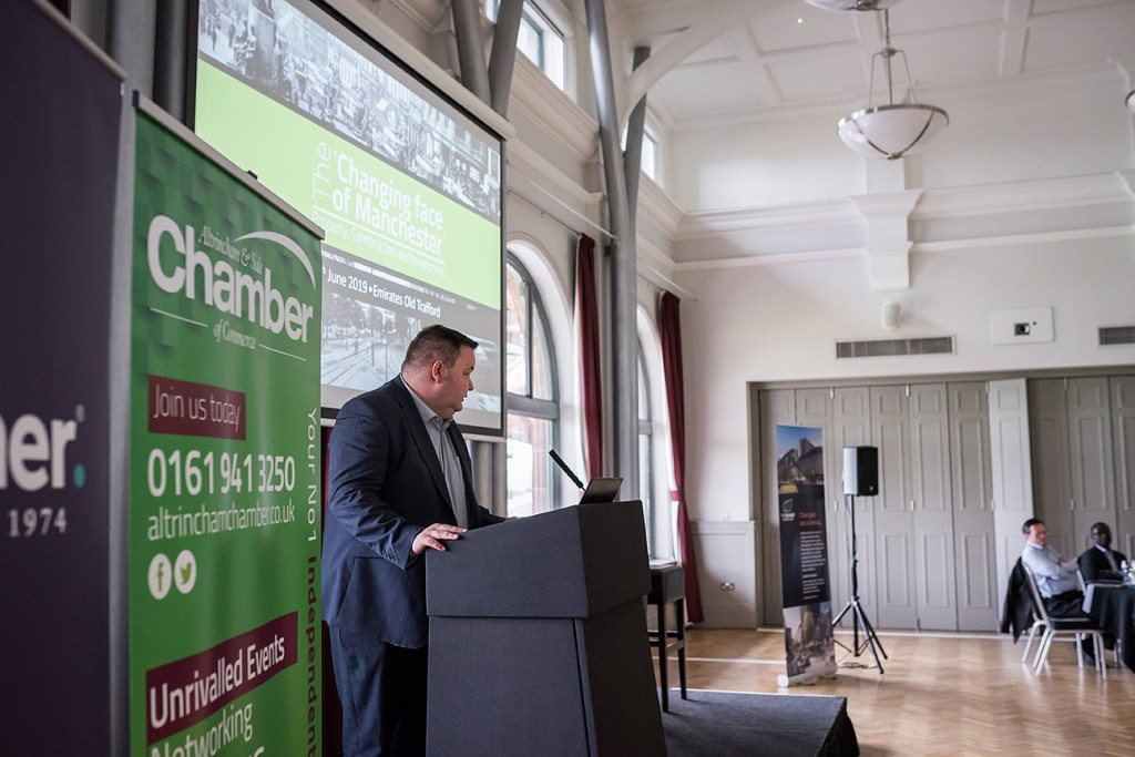 Trafford Council leader Andrew Western introducing the Chamber of Commerce property lunch