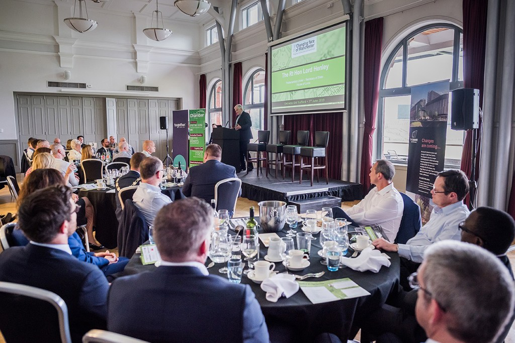 Speaker at a property lunch in the Members' Suite at Emirates Old Trafford