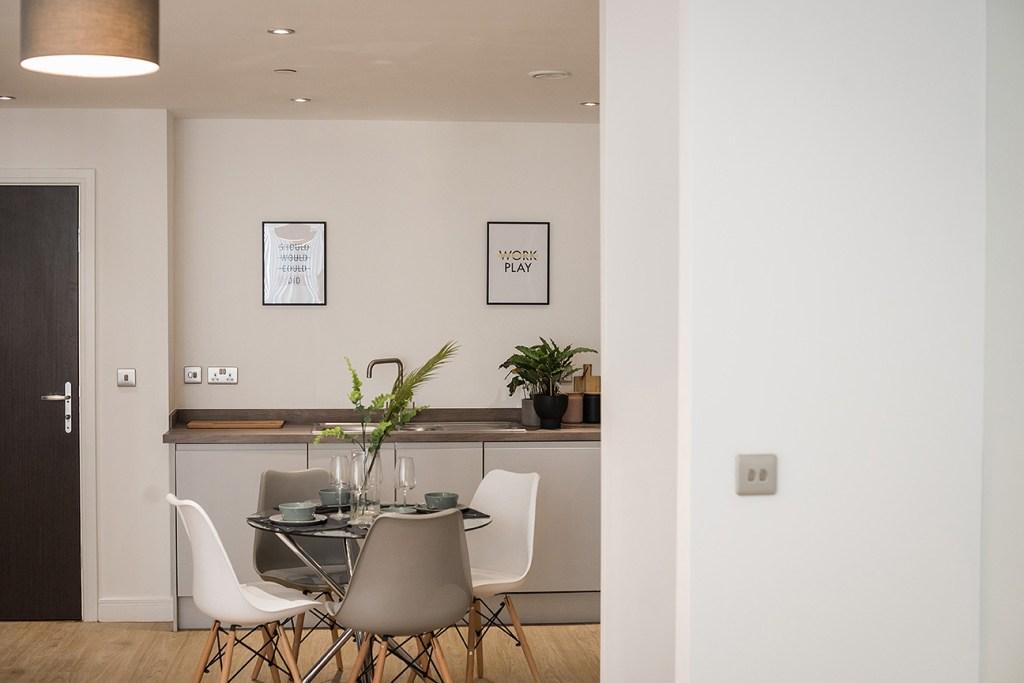 kitchen area of modern apartment