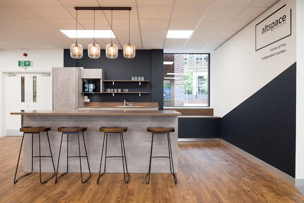 marketing photo of kitchen facilities in Altspace Warrington offices