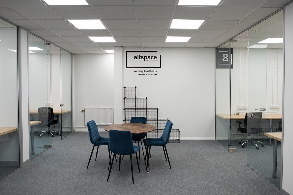marketing photo showing private offices and hot desk area in Altspace Warrington