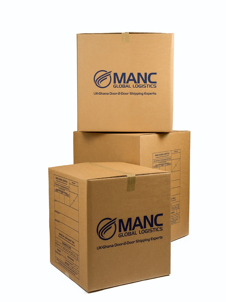 three branded cardboard boxes stacked in a pile
