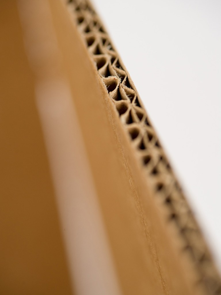 close up double wall construction of cardboard packing case