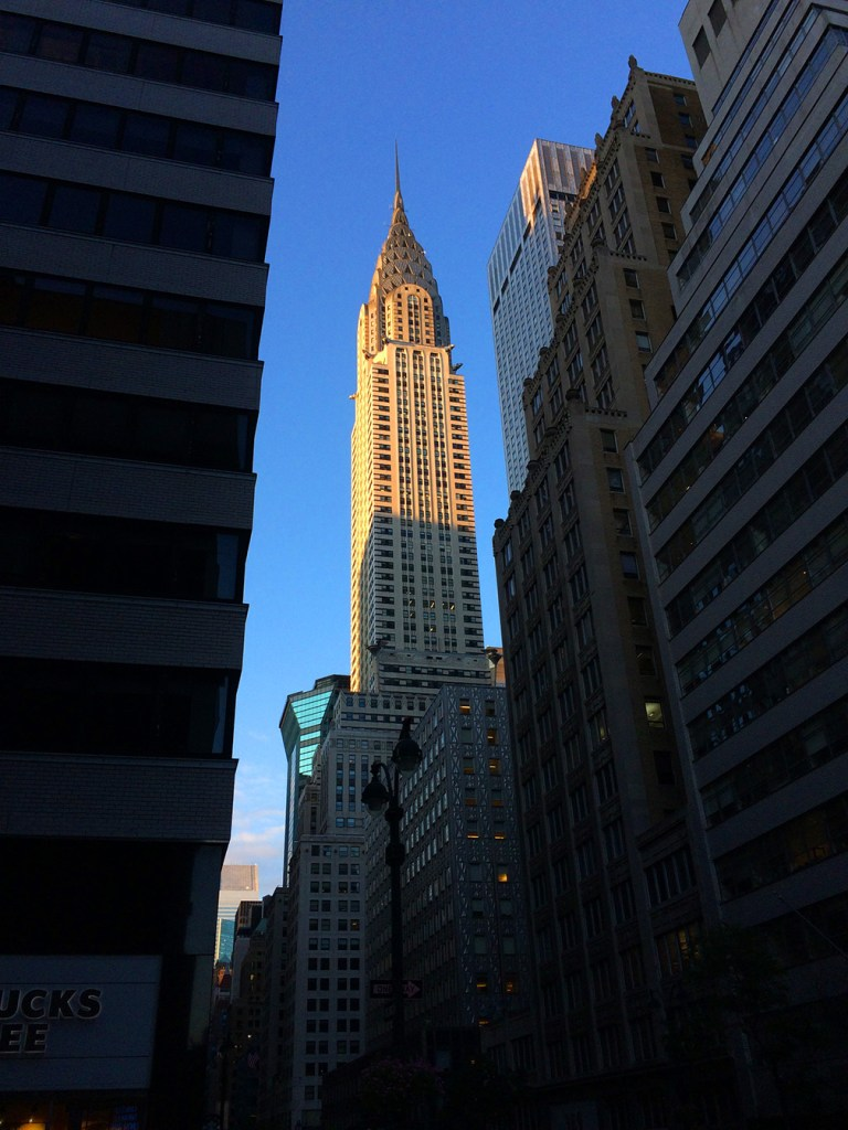 The Chrysler Building in New York City in early morning sunlight