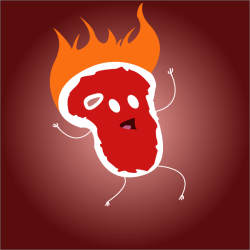 logo burning steak