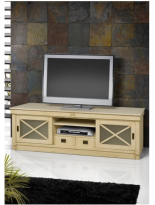 meuble tv antiquaire 2 tiroirs colonial