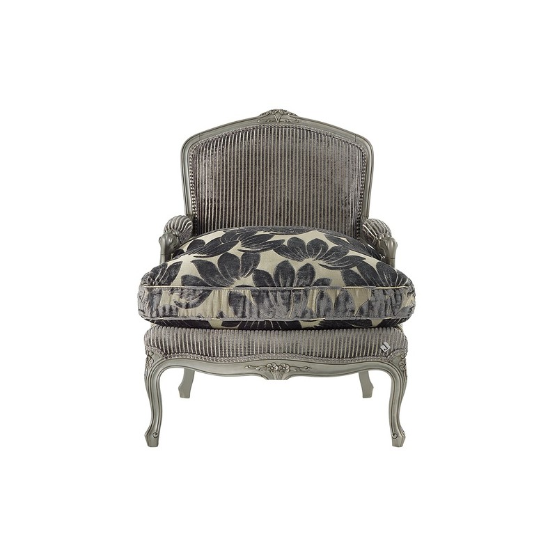 Fauteuil De Luxe Vintage Tissu Gris Avec Accoudoirs Glamour