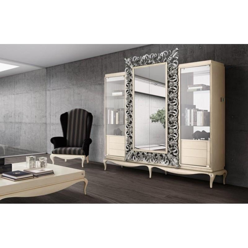 bibliotheque meuble tv miroir luxe