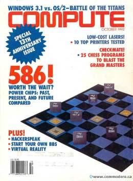Compute! Magazine Issue #145 -October 1992 - 586 Intel Windows 3.1 vs O/2 Laser Printers Commodore Apple Microsoft