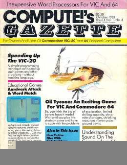 Compute Gazette - Issue 4 - October 1983 - Speeding Up the Vic-20 - Commodore VIC-20 64