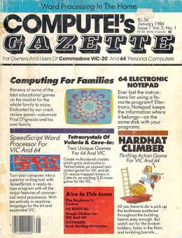 Compute Gazette - Issue 7 - January 1984 - Families - Notepad - Hardhad Climber - Commodore VIC-20 64
